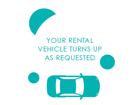 YOUR RENTAL VEHICLE TURNS UP AS REQUESTED