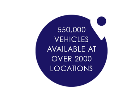 550,000 VEHICLES AVAILABLE AT OVER 2000 LOCATIONS