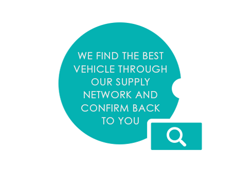 WE FIND THE BEST VEHICLE THROUGH OUR SUPPLY NETWORK AND CONFIRM BACK TO YOU